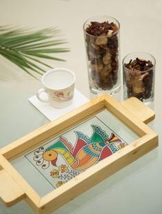 Peacock painting madhubani tray