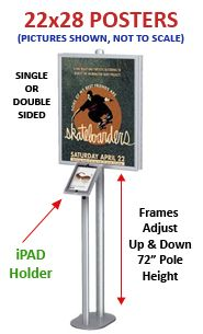 Apple® iPAD Floor Stand Snap Frame (for 22x28 Posters) - at Displays4Sale