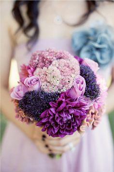 Wedding boquet in purple and pinks