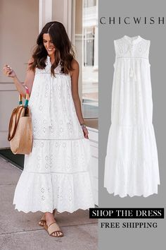 Free Shipping & Easy Return. Up to 30% Off. Try To Be Boho Embroidered Eyelet Maxi Dress. #outfit #womenfashion #clothing #fashion #ootd #summeroutfit #dress #partydress #casualoutfit #chiffondress #floraldress #maxidress #slipdress @brittfullwood