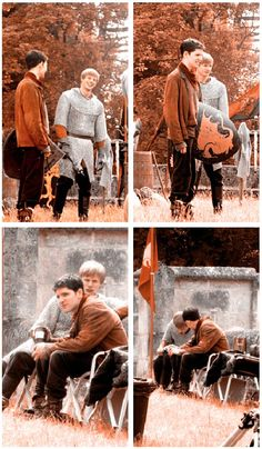 Colin Morgan and Bradley James between takes on Merlin