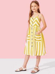 Girls Button Up Patch Pocket Detail Striped Cami Dress - Babykleidung Frocks For Girls, Kids Outfits Girls, Little Girl Dresses, Girl Outfits, Girls Dresses, Kids Summer Dresses, Slip Dresses, Girls Frock Design, Baby Dress Design