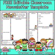 Free Editable Teacher Newsletter Template  SchoolWriting