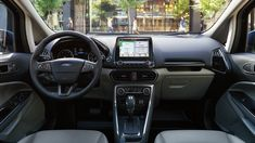 Inside the Ford EcoSport. Come get yours today at Planet Ford in Spring, Texas. Photo Courtesy of Ford Motor Co. Ford Ecosport, 2019 Ford, Small Suv, Compact Suv, Four Wheel Drive, Car Brands, Station Wagon, Image, Spring Texas