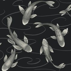 Brewster Home Fashions Japanese Waves x 6 Piece Wall.- Brewster Home Fashions Japanese Waves x 6 Piece Wall Mural Set Dragonfly Wallpaper, Fish Wallpaper, Bathroom Wallpaper, Black Wallpaper, Pattern Wallpaper, Funky Wallpaper, De Gournay Wallpaper, Holographic Print, Holographic Foil
