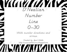 $3.00 Zebra Print Number Line0-30Lines with numbers and arrows.D'Nealian Fonthttp://www.wolfelicious.blogspot.com...