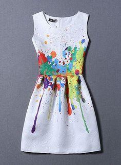 Polyester Sleeveless Above Knee Cute Dresses (1012422) @ floryday.com