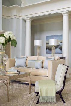 white columns, elegant sofa, silk pillows, crystal lamps featured on ifitweremine.blogspot.com