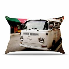 "Angie Turner ""VW Bus"" White Vintage Pillow Sham"