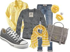 Grey converse and yellow. Cute!