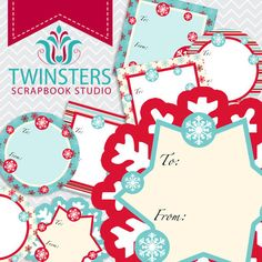 Printable Christmas tags png TW026 by Twinsters on Etsy