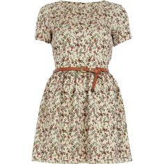 River Island Cream Floral Print Belted Skater Dress ($65) ❤ liked on Polyvore