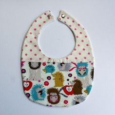 hand made Cotton baby dribble bib(hedgehogs and spots )