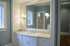 Master bath vanity area - Botticino Fiorito marble countertops, undermount sink. Very soothing colors.