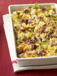 Chicken & Bacon Bowtie Bake from familycircle.com #myplate #casserole #chicken