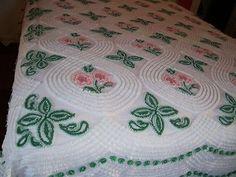 Vintage Chenille Bedspread Peach Pink Mauve Flowers
