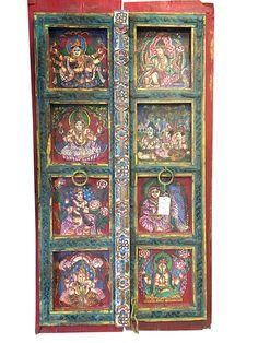 Amazon Antique Doors Vintage Shiva Parvati Ganesha Painted Barn Door Panels Home