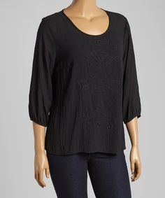 Another great find on #zulily! Black Embroidered Three-Quarter Sleeve Top - Plus #zulilyfinds