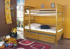 Pat etajat din lemn masiv de pin de 3 persoane Cezary #homedecor #interiordesign #inspiration #homedesign #bedroom #kidsroom Triple Bunk, 2 Colours, Bunk Beds, Mattress, Children, Wood, Interior, Furniture, Design