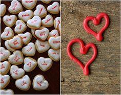 conversation heart cookies.