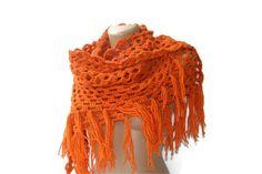 hand-crocheted shawl,woman shawl,Orange,neckwarmer,scarf,cowl,gift shawl,for her,Valentine's Day gift. $60.00, via Etsy.