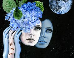 "Melissa Hartley.     2.Wonder, 2012.  ""Phases de la lune""  Acrylic on gesso board, 14 x 18 inches, 35.6 x 45.7 cm."