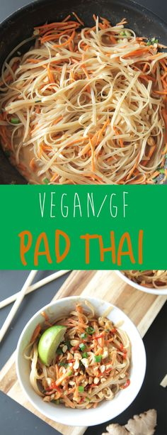 Easy Pad Thai (Vegan + Gluten Free) - A quick and easy vegan pad thai that is creamy and a bit spicy and comes together in about 30 minutes making for a simple and delicious meal. #vegan #padthai #plantbased #dinner #easyrecipe #glutenfree #dairyfree