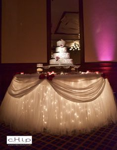 https://flic.kr/p/aoVpDx | Decor by SBD Events-Fantasy Table Skirt(R), Full Cake Table | White Fantasy Table Skirt(R) - Patented with Rhinestone Cake Stand and Candles Cannot be duplicated.
