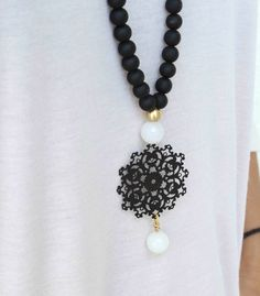 Black and white Necklace Long Pendant by lizaslittlethings, $30.00