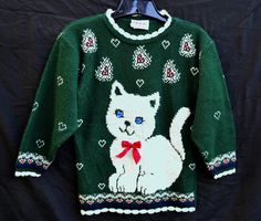 Adorable White Fluffy Kitten Retro Cutesy Cat Lovers Hearts Forest Green White Pink Winter Sweaters Girls 7/8 Size Small Ugly Xmas Sweaters by SerialMateriaL on Etsy