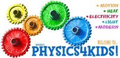 Information on motion, heat, electricity and light and several quizzes about physics.