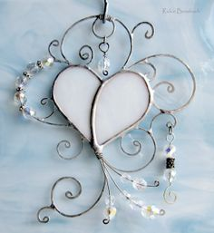 Beaded White Stain Glass Heart