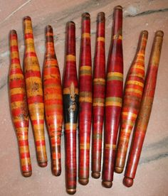 Lot of 9 Antique Lacquer color wooden Chapati Rollers/Rolling Pin L#2