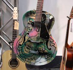 Custom-Painted Guitars | Joseph Arthur Hand Painted Godin Kingpin Guitars