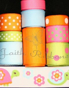 Grosgrain Ribbon Lot Mix Growing Flowers by FaithRibbonsDotCom