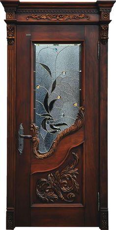 caved solid wood door with glass www.bestwooddoors.com