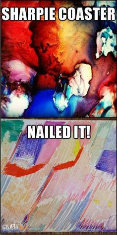 Sharpie coaster NAILED IT Pinterest Fails, Scribble, Sharpie, Coasters, Sad, Concept, Nails, Movie Posters, Finger Nails