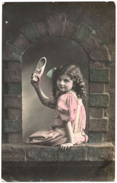 1912 Vintage Hand Tinted Photo Postcard Edwardian Girl Window Art Studio Series | eBay