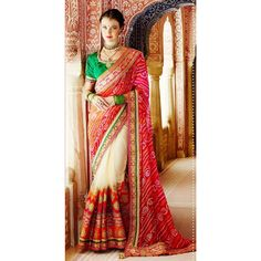 Red,White Color Saree at Rs.9,551.04  #red #surat #fashion #wear #clothes #indian #designer #sanginionline #haveit #design