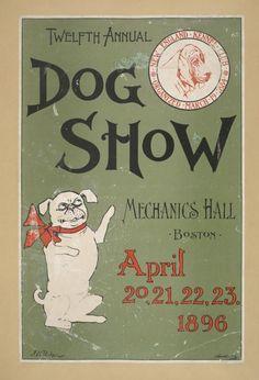 1896 12th Annual Dog Show poster Boston MA