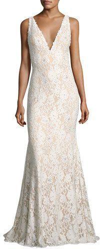 Jovani Sleeveless Embellished Lace Mermaid Gown, Off White at Neiman Marcus #affiliatelink