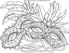 Mardi Gras : Masquerade colouring page for adults
