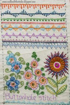 I ❤ embroidery . . . Week 2 the stitch to explore was Buttonhole Stitch. ~By maya matthew