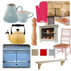 Mix quirky accessories with a colourful range cooker for a laid-back country look