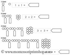 Square Chain Worksheets - extension work for the bead chains