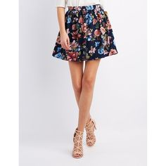 Charlotte Russe Floral Skater Skirt ($19) ❤ liked on Polyvore featuring skirts, navy combo, circle skirt, pleated skirt, pleated skater skirt, navy blue a line skirt and navy skater skirt