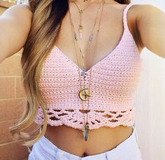 Best pink crochet top billabong barely there ivory crochet bralette top QYFHAIM Teen Fashion, Boho Fashion, Fashion Outfits, Crochet Bikini Top, Knit Crochet, Crochet Clothes, Diy Clothes, Summer Outfits, Cute Outfits