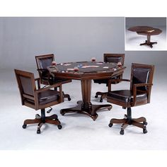 Ambassador Rich Cherry Octagon Game Table And Four Chairs Poker Tables Game Tables Game