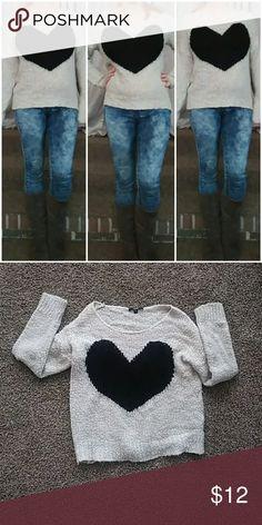 Heart Sweater Tan sweater with a black heart on it. Papaya Sweaters