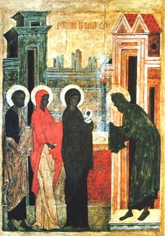 Meeting of our Lord in the Temple, Medieval depiction of Mary with Baby Jesus.